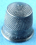 Edwardian Thimble Sterling Silver Victorian Floral Band Size 9 USA 1900 Sewing Notion