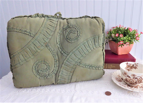 Edwardian Tea Cozy English Silk Ruched Olive Green Padded 1900-1910 Cosy Hand Made
