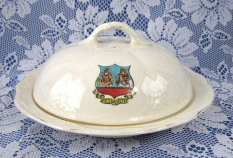Covered Muffin Dish Butter Cheese 1904 Arcadian Petworth White Ironstone Souvenir