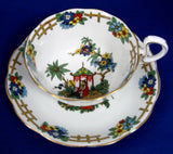 Edwardian Royal Albert Cup And Saucer Colorful Oriental Scene 1905 Bone China