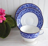 Shelley Blue Swallows Cup Saucer Plate Bute Shape 1906 Edwardian Teacup Trio