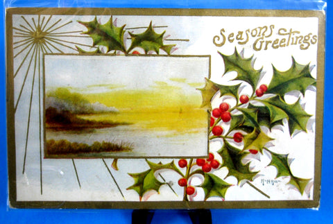Postcard Season's Greetings Artist Signed A Hall Embossed Edwardian Era 1907-1910