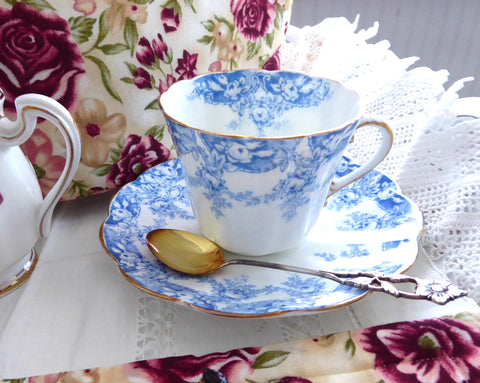 Edwardian Blue Transferware Cup And Saucer Tuscan 1907 Bone China