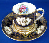 Fancy Edwardian Cup and Saucer Cabinet Crown Staffordshire England Floral Gold