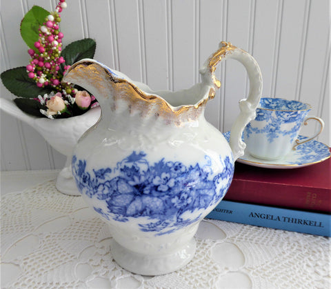 Blue Transferware Jug Pitcher English Edwardian Iona Wedgwood 1908 Ironstone