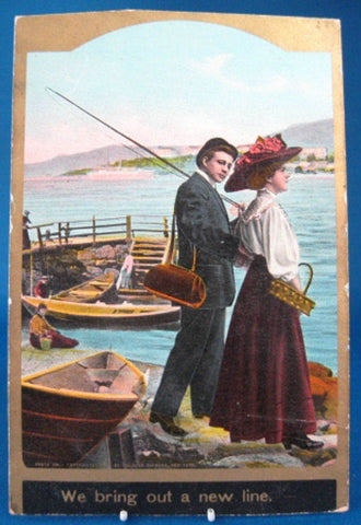 Antique Romance Postcard T Eismann A New Line Fishing Couple 1900-1910