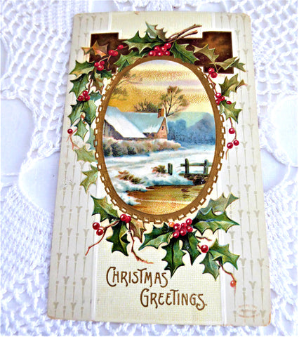 Postcard Christmas Greetings Embossed Snow Scene Holly 1909 Calligraphy
