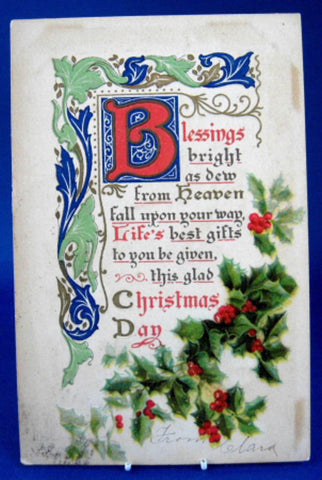 Postcard Blessings Bright Christmas Day Illuminated Manuscript 1909 Mass USA