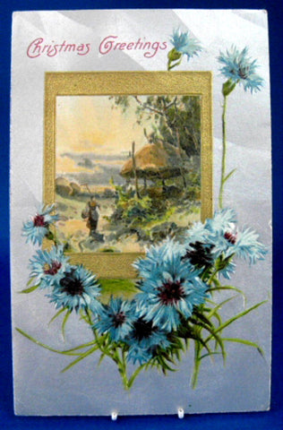 Postcard Christmas Greetings Gold Silver Vignette Cornflowers New Hampshire 1909
