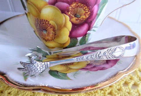 Sugar Tongs English Sterling Silver Edwardian Feather Claw Thistles W S Savage 1909