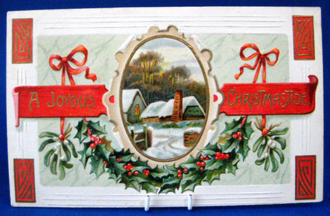 Postcard A Joyous Christmastide Snowy Village 1909 Embossed Holly New York