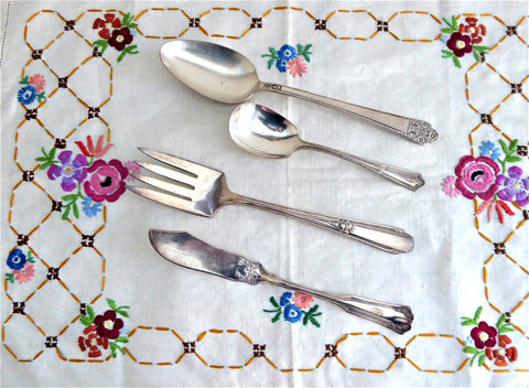 Vintage Silverplate Serving 4 Pieces 1910-1940 Meat Fork Spoon Butter Sugar Spoon