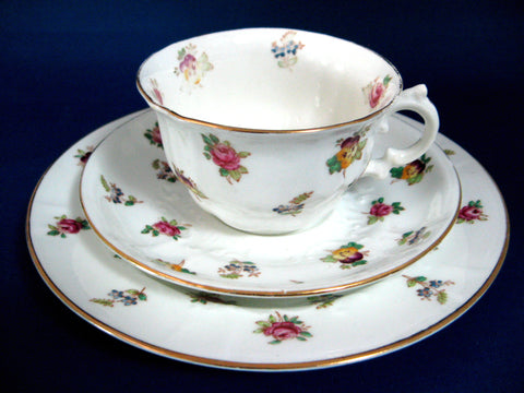 Edwardian Teacup Trio Adderleys Spray 96 Roses Pansies Forget Me Nots