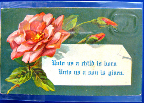 Christmas Scripture Postcard 1910s Embossed Rose Isaiah 9:6 For Unto Us