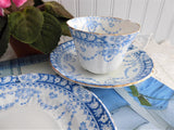 Edwardian Blue Transferware Cup And Saucer Plate 1904 Teacup Trio Swags