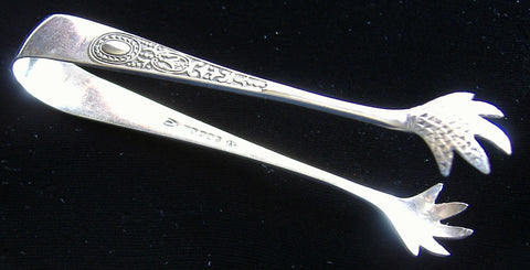 Edwardian English Fancy Sugar Tongs Feathered Claw End EPNS 1900-1910s