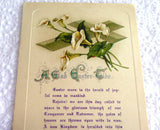 Easter Greeting Card Embossed Lillies Postcard Poem Mumps Report 1910s