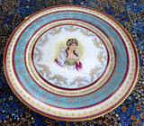Royal Vienna Style Cabinet Plate Empress Josephine Hand Painted Ornate French Empire Revival