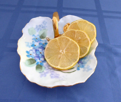 Lemon Server Limoges Hand Painted 1890-1910 Antique T&V Lemon Dish Violets Forget-Me-Nots