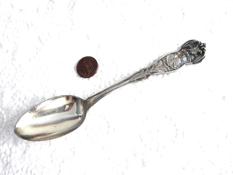 Vermont State Spoon Antique Wm Rogers Silver Eagle Forest 1910s US State Spoon