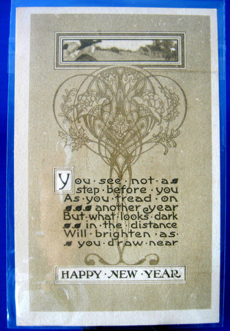 Art Nouveau Happy New Year Wisdom 1910 Embossed Postcard Gibson Ohio