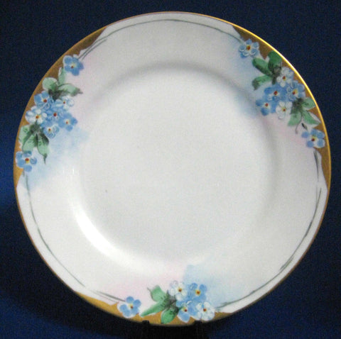 Plate Hand Painted Plate Forget Me Nots 1910-1920s Japan Porcelain 6.5 Inch Artist Side