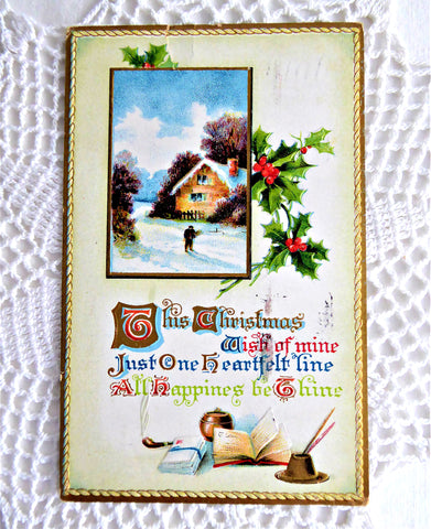 Postcard Christmas Wish 1910 Poem Embossed Snow Scene BB London Vintage Ephemera