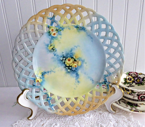 Plate Hand Painted Roses Forget Me Nots 1910s Artistan Blue Thru Apricot Reticulated