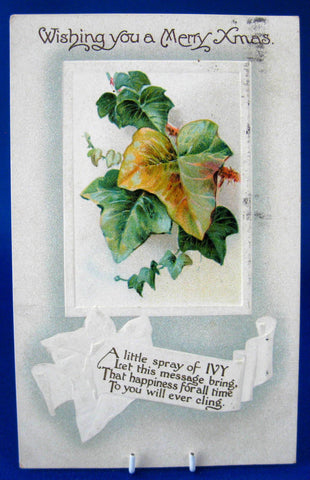 Embossed Christmas Postcard 1910 Wishing You A Merry Xmas Ivy Poem