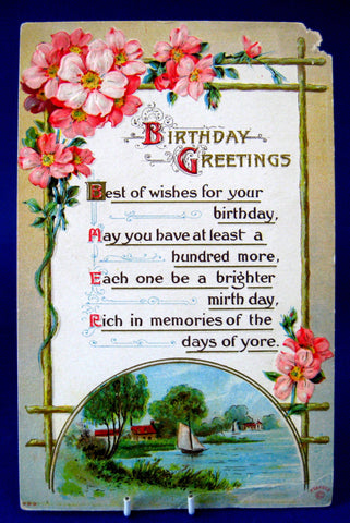 Birthday Greetings Postcard 1910 Sailboat Roses Poem Ephemera Greeting Card