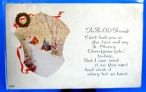 Christmas Postcard Friend Marry Christmas-tide Cottage Snow Scene 1910 Divided Unused