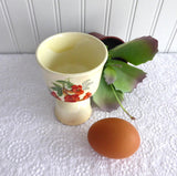 Double English Egg Cup Vintage Floral Pale Yellow Red Flowers Edwardian Ceramic