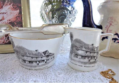 Shelley Cream and Sugar Basin Ye Olde Mint House Pevensey Milk Sussex 1910s