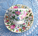 Floral Cup and Saucer Crown Staffordshire England Cheery Colors Gold 1910s