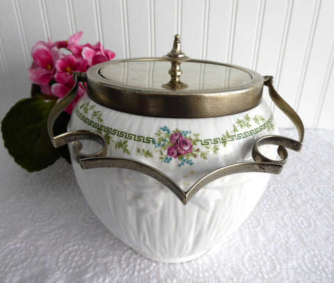 Shelley Rare Biscuit Barrel Greek Key And Rose 1910-1916 Fancy EPNS Mounts