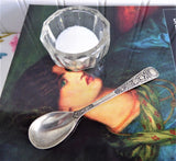 Oval Salt Spoon Mustard Pretty Embossed Silver Plate 1920s Fancy Handle No Mono