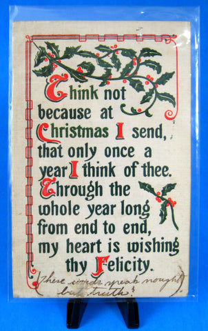 Christmas Postcard Thinking Of You Linen Holly 1911 Divided Massachusetts NY