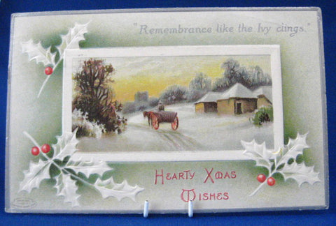 Hearty Xmas Wishes Christmas Postcard Embossed Holly 1911 Snow Scene