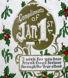 Embossed Postcard Compliments Jan 1st Embossed 1912 Holly Gold Medal Art