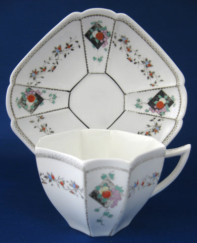 Cup And Saucer Shelley Fruit And Diamonds Queen Anne Paneled Art Deco 1912 As Is