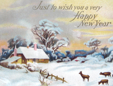 Happy New Year 1913 Postcard Snow Scene With Deer New York Chatty ...