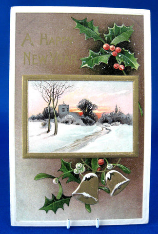 Happy New Year 1913 Embossed Postcard Davidson Snowy Church Maine