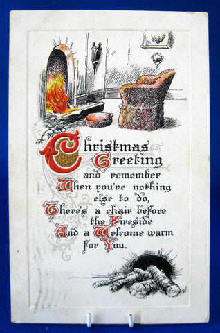 Christmas Greeting Postcard 1914 Fireside Poem Embossed BB London Vintage Paper Ephemera