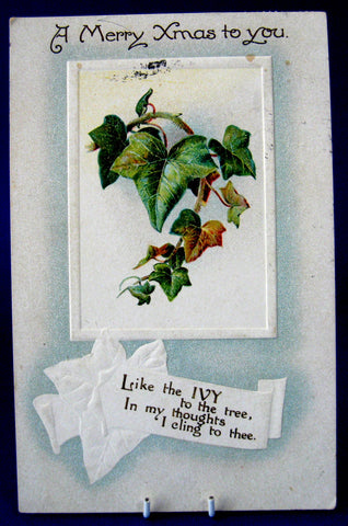 B.B. London Christmas Postcard Merry Xmas Postcard 1914 Embossed Ivy Poem