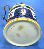 Edwardian Biscuit Jar Barrel Imari Gaudy Wood England Rust Cobalt Blue Gold