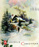Postcard A Joyous Christmas Cottage Snow Scene 1916 Printed USA New York Divided