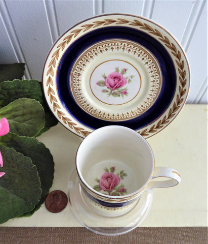 Demitasse Cup And Saucer Crown Ducal 1916-1925 Bergdorf Goodman Pink Rose