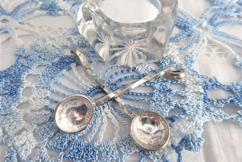 Pair Sterling Silver Salt Spoons George V Threepence Coins Hand Made 1916 1922
