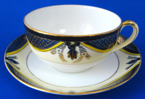 Cup And Saucer Noritake Antique 1918 Cobalt Gold Yellow Eggshell Porcelain