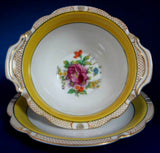 Noritake Mayonnaise Bowl And Plate Yellow Floral Sauce 1918 Floral Bouquet